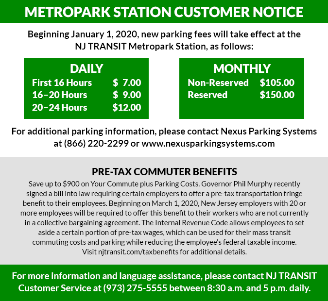 MetroPark Customer Notice, new parking fees
